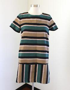 Joa La Womens Striped Shift Dress Size M Lace Up Back