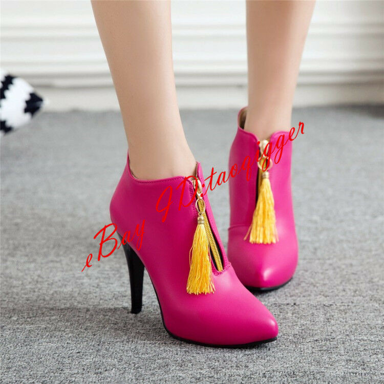 Women High Heels Pointed Toe Fringe Slip On Zipper Brushed Ankle Boots Winter 17