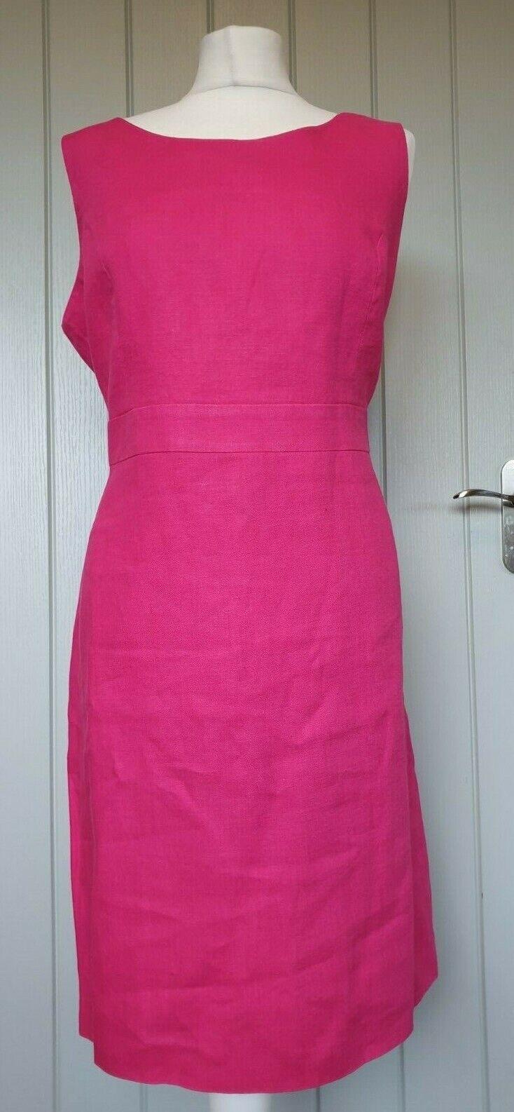 EAST cerise pink shift dress size 14 sleeveless linen lined zip back d3