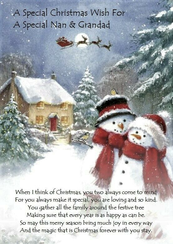 Deseo de Navidad para especial NAN Y GRANDAD A5 tarjeta de Navidad versos significativo