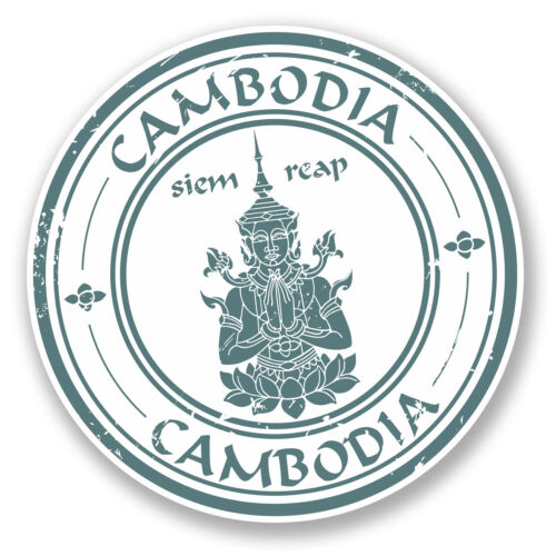 2 x 10cm Cambodia Vinyl Sticker Decal Car Bike Laptop Travel Luggage Tag #5853