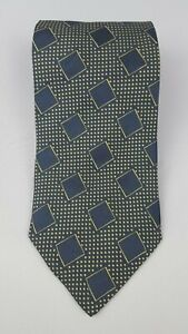 Giorgio-Armani-Pure-Silk-NecktieTie-Navy-Blue-Yellow-B1023