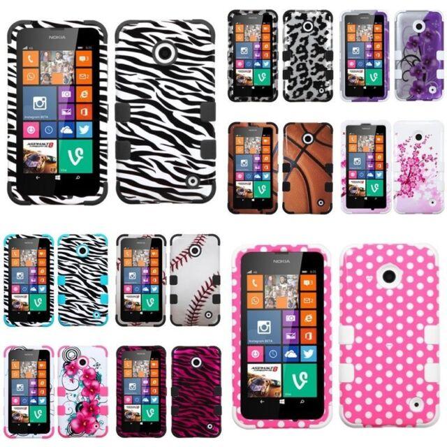 Silicone Rubber TUFF HYBRID Armor Hard Case Phone Cover for NOKIA Lumia 630 635