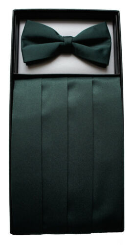 Bottle Green Cummerbund /& Bow Tie Set