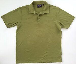 Alan-Flusser-Mens-Golf-Soft-Cotton-Polo-Shirt-Short-Sleeve-Green-size-Large