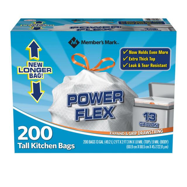 13 Gallon, 80 Count Hefty Power Flex Tall Kitchen Drawstring Trash Bags