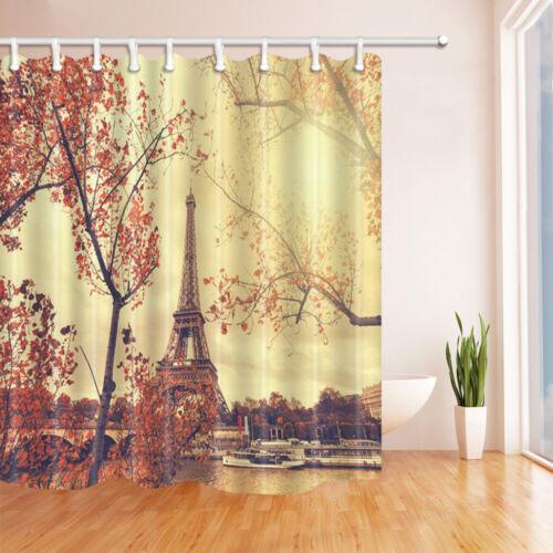 Paris Eiffel Tower in Autumn Bathroom Shower Curtain Waterproof Fabric 71*71inch