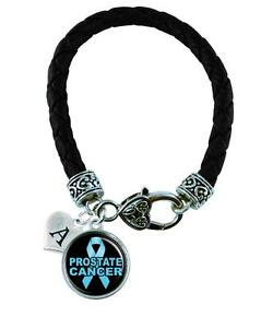Custom-Prostate-Cancer-Awareness-Ribbon-Black-Leather-Bracelet-Jewelry-Charm