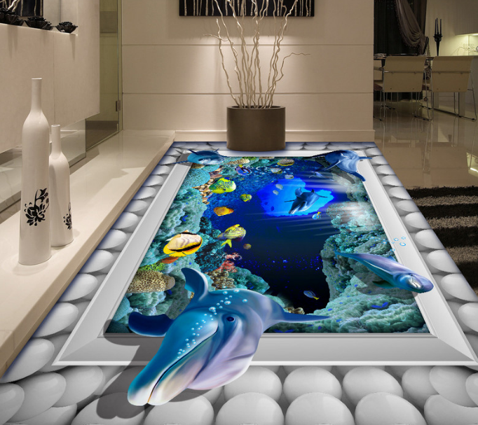 3D Balls Dolphins 59 Floor WallPaper Murals Wall Print 5D AJ WALLPAPER UK Lemon
