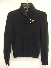 RALPH LAUREN Black Shawl Collared Sweater with Gold Hardware sz PS Pet.S