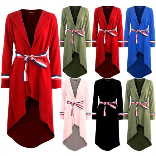 Womens Ladies Stripes Tie Belted Duster Blazer High Low Dipped Hem Midi Cardigan