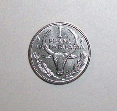 Poinsettia flower Ox Madagascar 1 franc animal wildlife coin