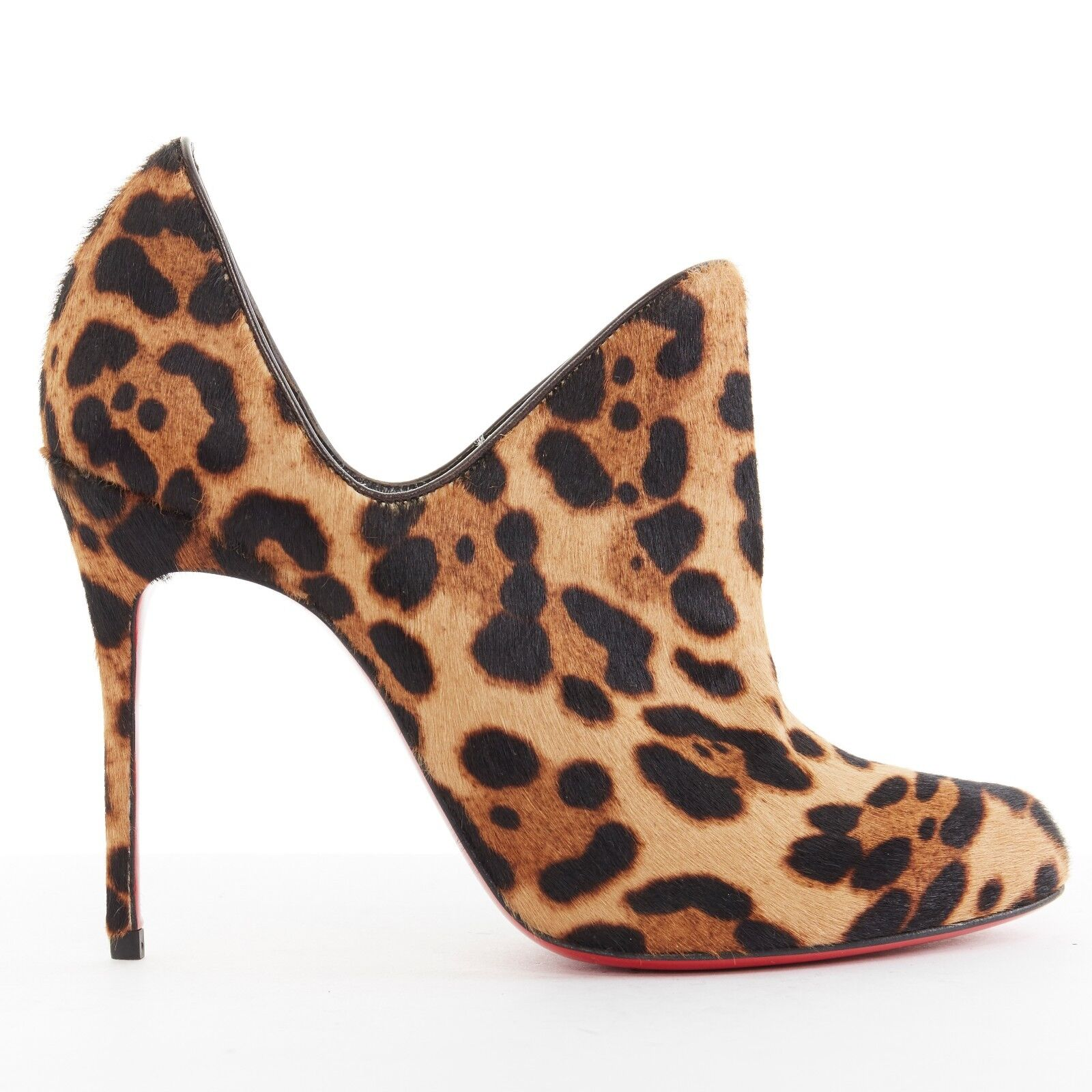 New CHRISTIAN LOUBOUTIN Dugueclina 100 leopard calf dipped stiletto bootie EU37