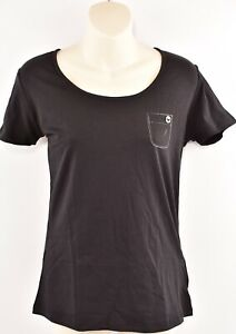 EMPORIO-ARMANI-Women-039-s-Round-Neck-Black-Short-Sleeve-T-Shirt-S-L