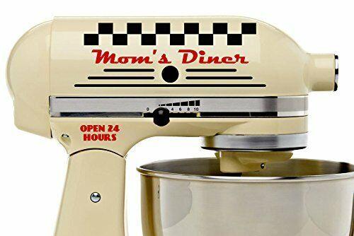 Moms Diner Black and Red Vinyl Decal Set Stand Mixer Kitchenette Kitchen Retro