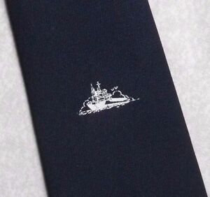 Vintage-TOOTAL-Tie-Mens-Necktie-Retro-1980s-Fashion-SHIP-BOAT-CRESTED