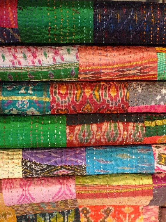 Antique Vintage Ikat Silk Sari Patchwork Kantha Quilt Bedspread Lot 10 PCS.
