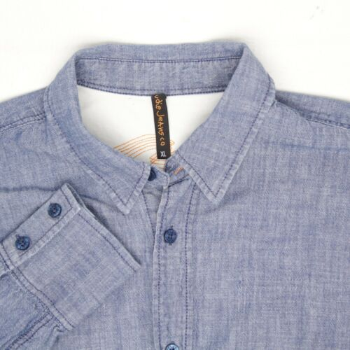 Nudie Jeans Mens Denim Chambray Shirt XL Light Blu