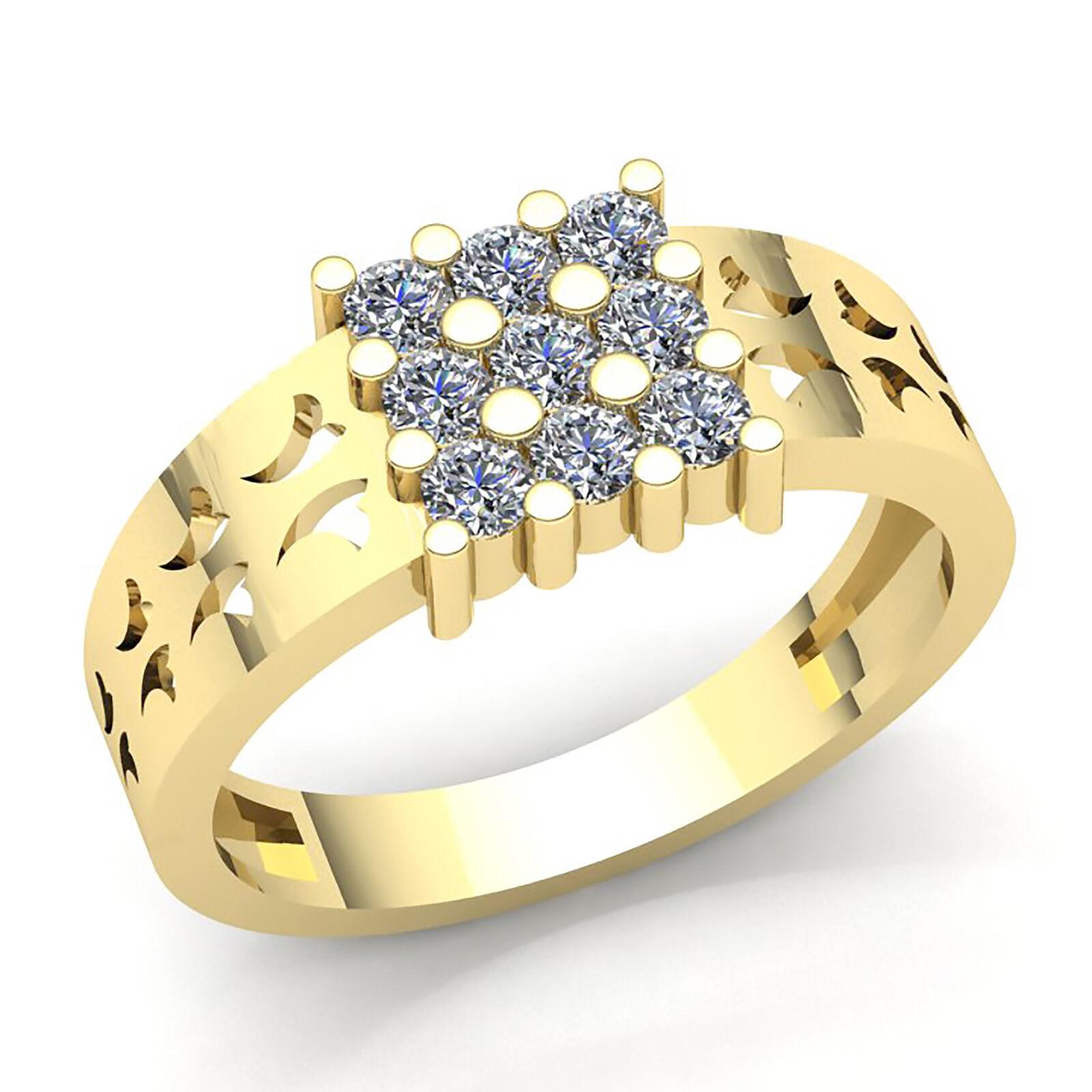 Genuine 1ct Round Cut Diamond Men's Cluster Anniversary Ring 10K gold