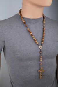 Rosary-Necklace-for-Men-Wooden-Brown-Carved-Beads-Strong-Cord-Rope-Catholic