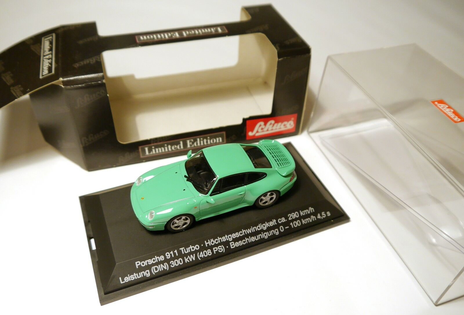 Porsche 911 (993) Turbo en Mint verde verde  vmax = 290 km h , Schuco 1 43 Boxed