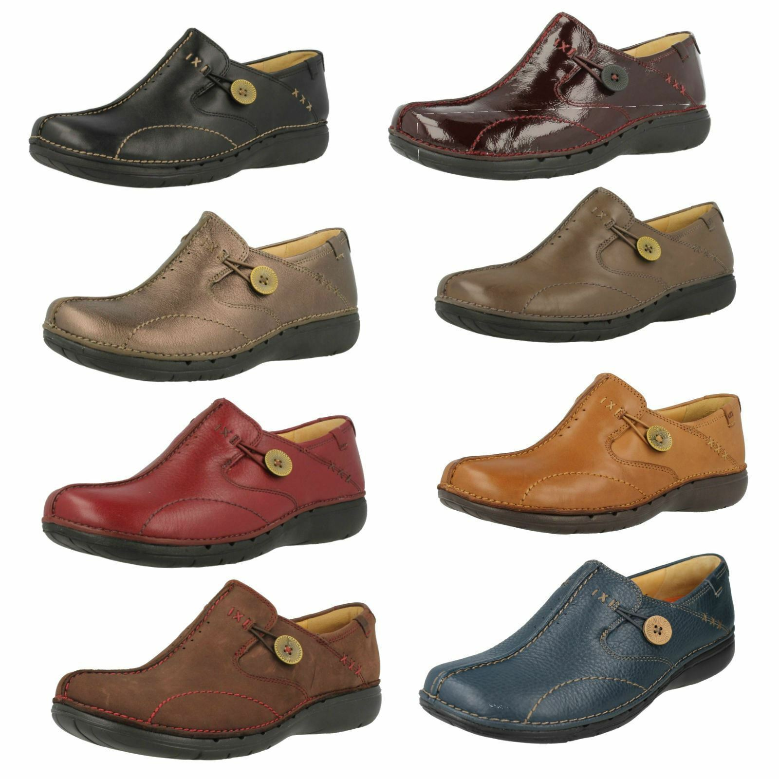 LADIES CLARKS UNSTRUCTURED LEATHER LEATHER UNSTRUCTURED SLIP ON CUSHIONED FLAT SLIP ON SHOES UN LOOP 002c56