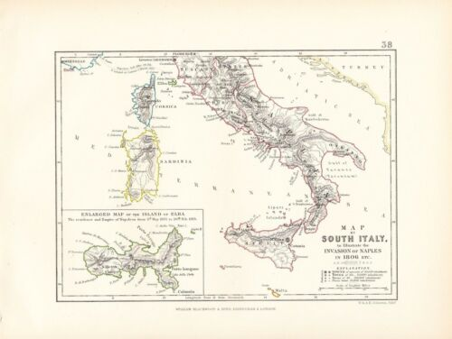 MAPBATTLE PLAN SOUTH ITALY INVASION OF NAPLES 1806 ISLAND OF ELBA