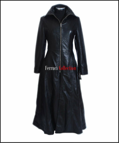 Jessica Sheep Nappa Flare Ladies Soft Long Coat Real Leather Smart Black ZOqPwxHZF