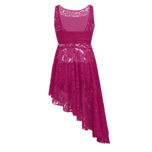 Girls Lace Dance Dress Kids Lyrical Ballet Asymmetric Bra Top+Shorts Set Costume