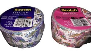 "2 Rolls 3M Scotch Duct Tape /""Paisley Princess/"",1.88/""x 10Yd"