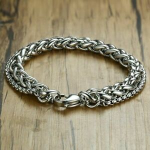 Stainless-Men-039-s-Wristband-Bangle-Link-Bracelet-Chain-Steel-Silver-Keel-Jewelry