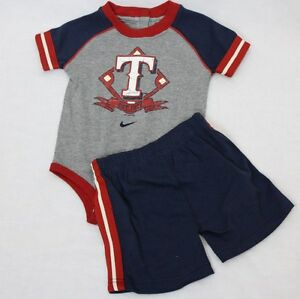 d8fa2c1f1819 NEW Infant Toddler Kids Boys NIKE 2 piece Texas RANGERS Baseball ...