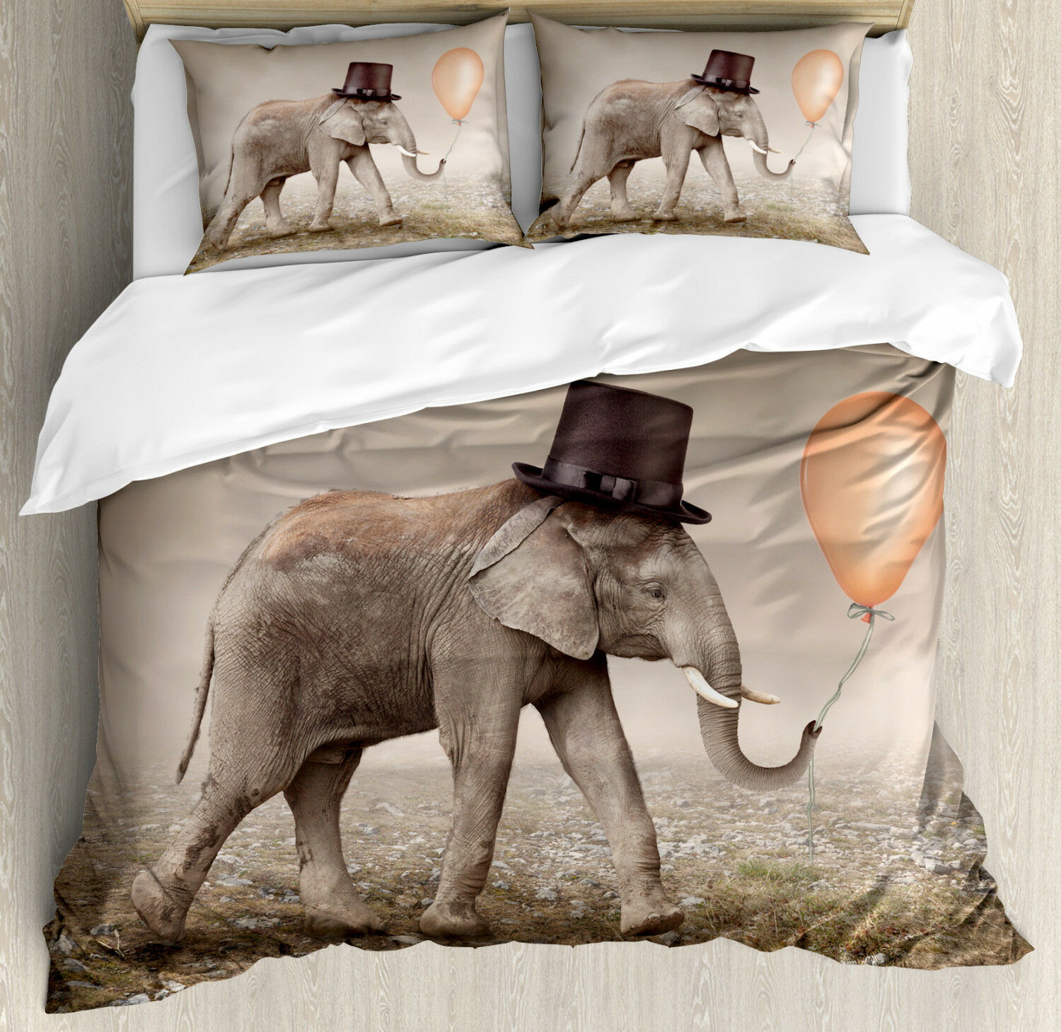 Surreal Duvet Cover Set with Pillow Shams Illusionist Elephant Print