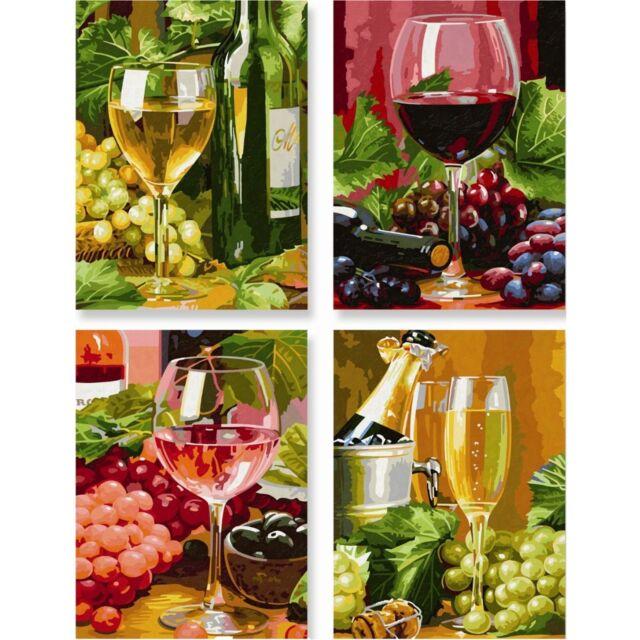 Malen Nach Zahlen In Vino Veritas Quattro 18x24cm 4 Er Set Schipper Wein Trauben