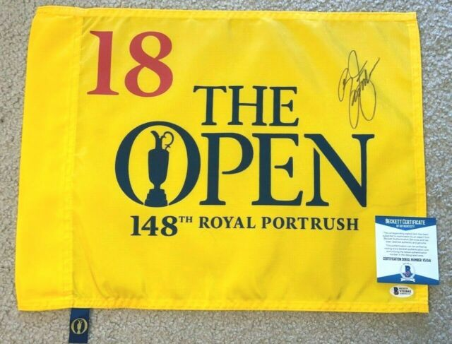 RICKIE FOWLER SIGNED 2019 BRITISH OPEN GOLF FLAG ROYAL PORTRUSH US MASTERS BAS