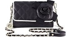 $298  NWT DKNY BLACK  QUILTED LAMB  NAPPA LEATHER FLOWER FLAP PURSE BAG  CLUTCH