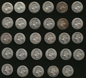 Bulk-Washington-Silver-Quarters-Set-of-29-Coins-with-FREE-Shipping