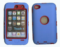 Best Protection Case / Cover For Ipod Touch 4 Blue / Red Free Stylus