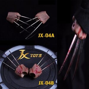 "JXtoys 1/6 Scale Wolverine Claws Steel Talons Blood Paw For 12"" Figure Body Toy"