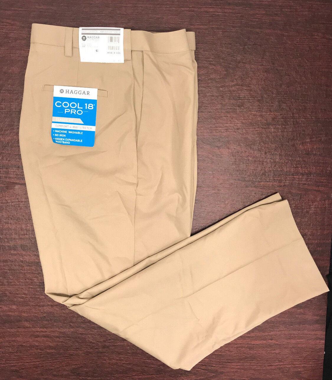 19204766dc3 NWT Men s Haggar Cool 18 Pro Classic Fit Flat Front Pants Khaki 40 x 32