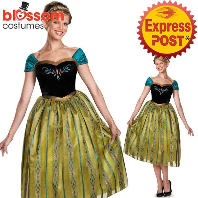 K304 Adult Coronation Deluxe Frozen Princess Anna Fancy Dress Up Womens Costume