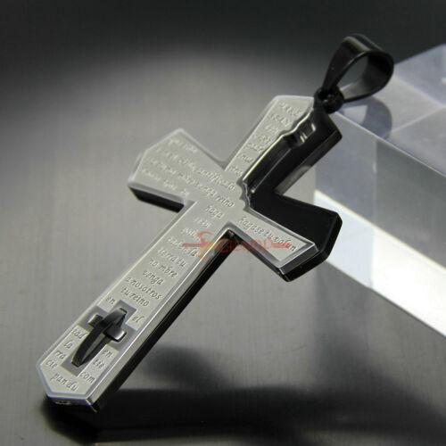 Big Stainless Steel Double Bible Cross Pendant Necklace Men Prayer Silver//Black