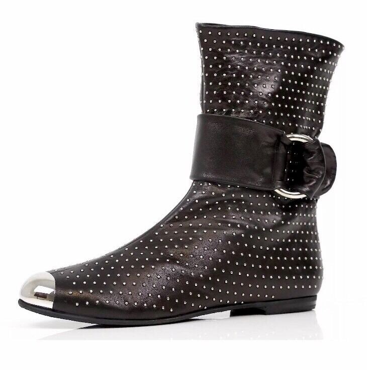 Giuseppe Zanotti 1157 Design  Leather Black Ankle Boots Shoes Sz 38.5 -Italy
