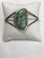Navajo Sterling Silver .925 8 Turquoise Bracelet Signed L Spencer