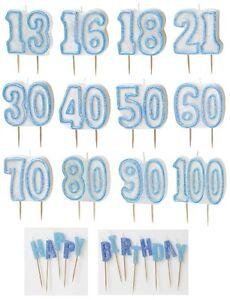 Blu Sfarzo-Glitter modellata Candela Torta (Festa Di Compleanno Decorazioni/Ragazzo/maschio)  </span>