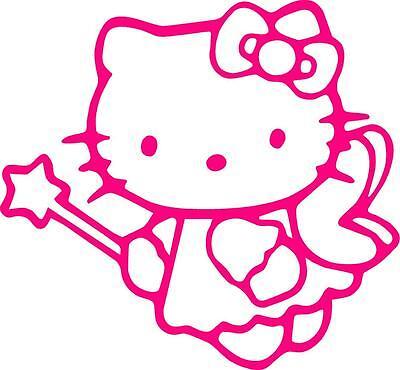 PINK Vinyl Decal Hello Kitty Angel fun sticker car truck wand fairy