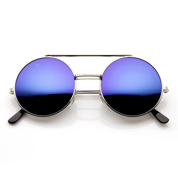 Vintage Color Mirror Flip-Up Lens Round Circle Django Steampunk Sunglasses 8794