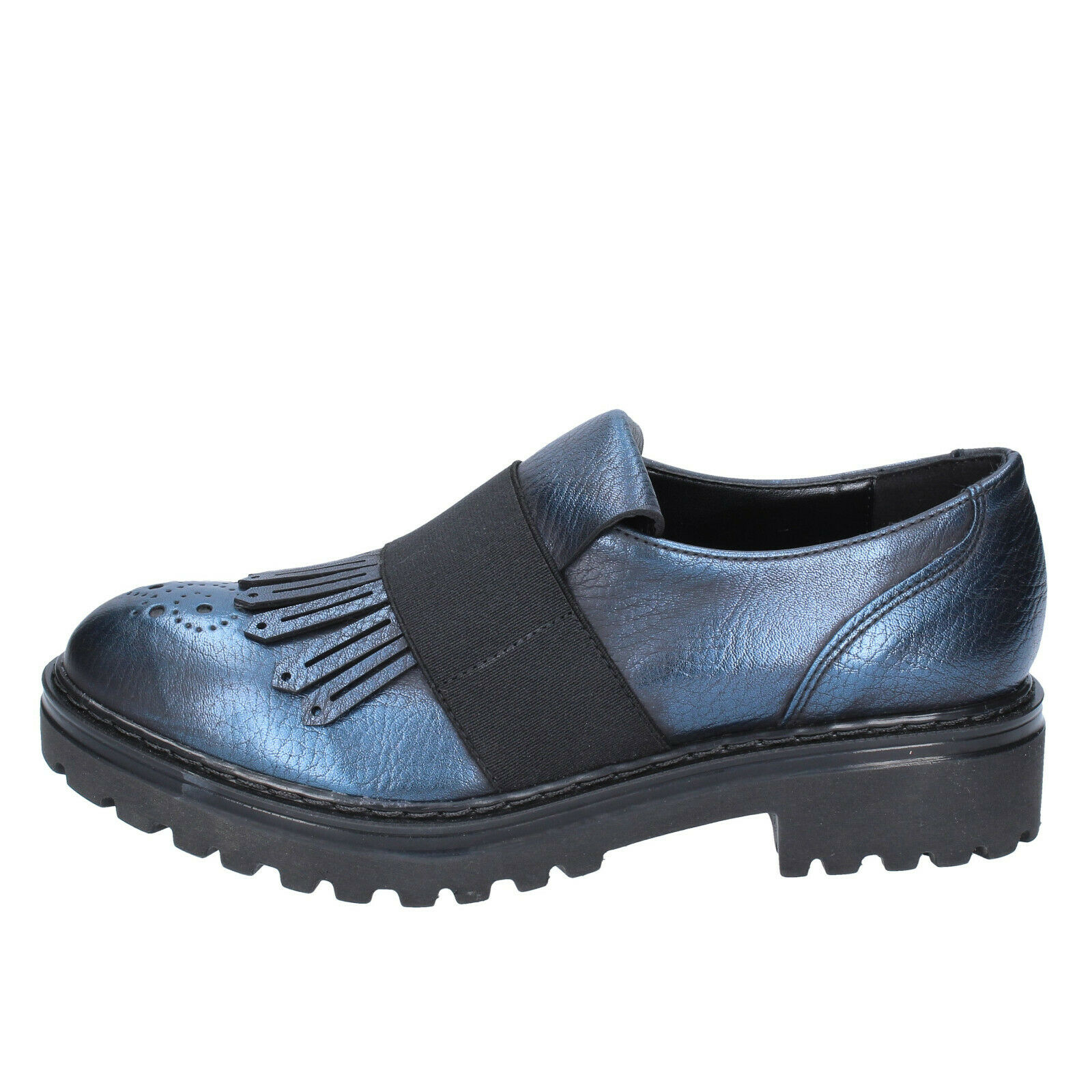 Wouomo scarpe OLGA RUBINI 7 7 7 (EU 37) slip on blu leather BS861-37 2cbfc5