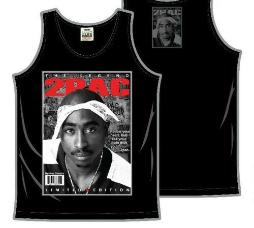 TUPAC SHAKUR Tank Top T-shirt 2Pac Urban Hip Hop Rap Mens Vest Black New