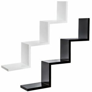 Modern Zig Zag W Step Shape Floating Wall Shelves